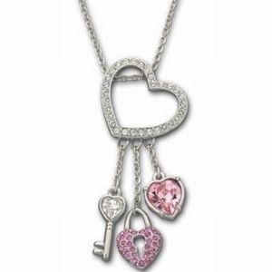 Swarovski Pink heart lock key necklace